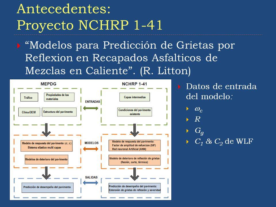 Antecedentes: Proyecto NCHRP 1-41 5 Modelos para Predicción de Grietas por Reflexion en Recapados Asfalticos de Mezclas en Caliente. (R. Litton) Datos