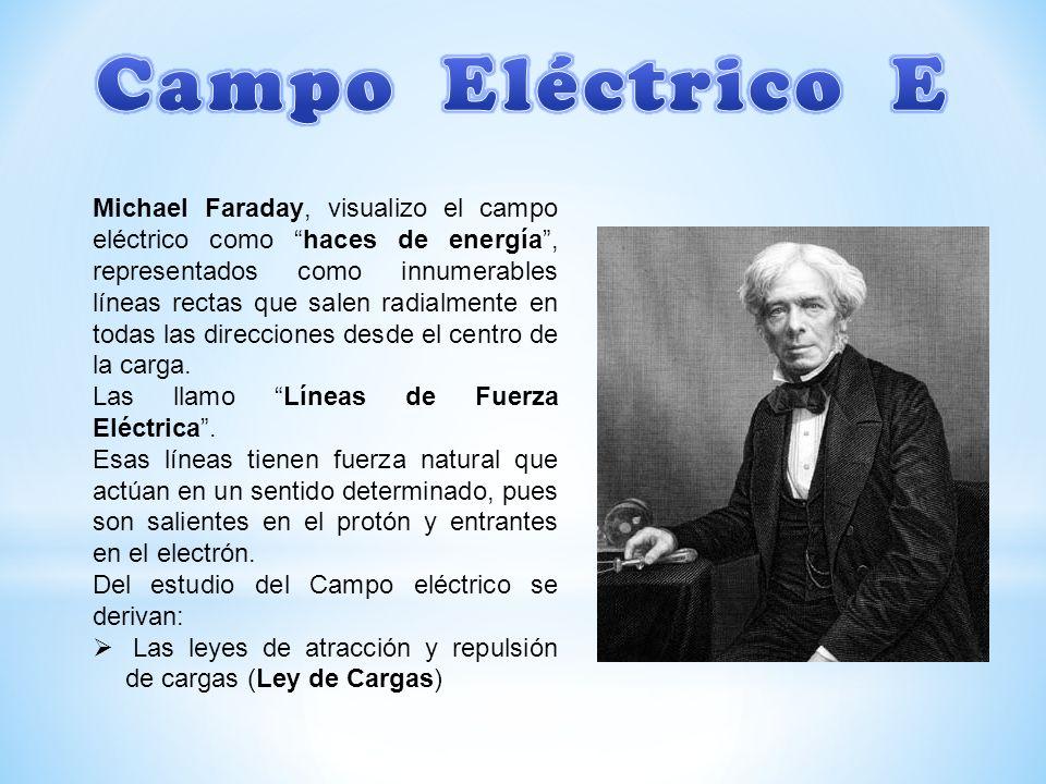 Michael Faraday, visualizo el campo eléctrico como haces de energía, representados como innumerables líneas rectas que salen radialmente en todas las direcciones desde el centro de la carga.