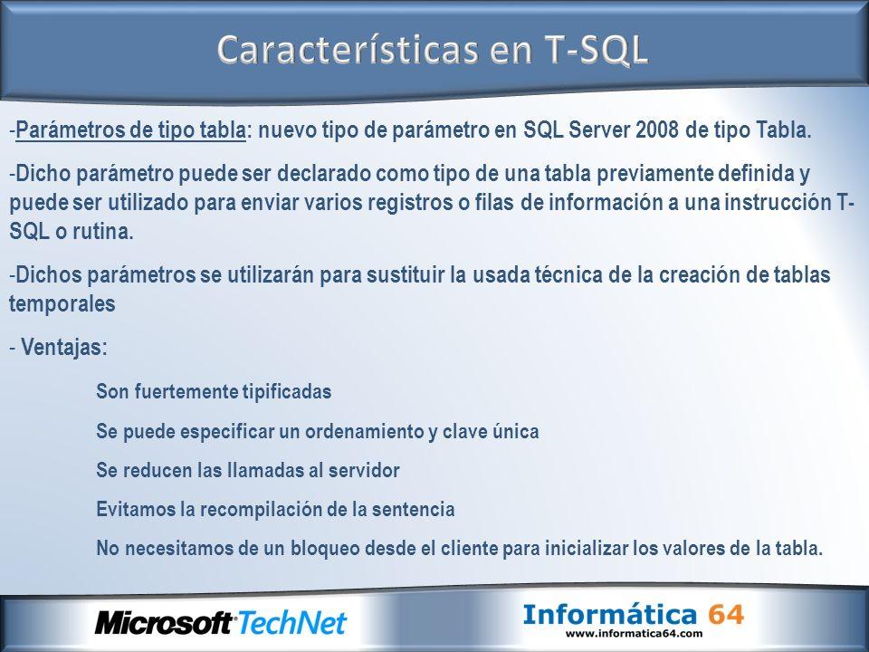 - Parámetros de tipo tabla: nuevo tipo de parámetro en SQL Server 2008 de tipo Tabla.