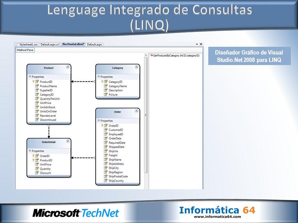 Diseñador Gráfico de Visual Studio.Net 2008 para LINQ