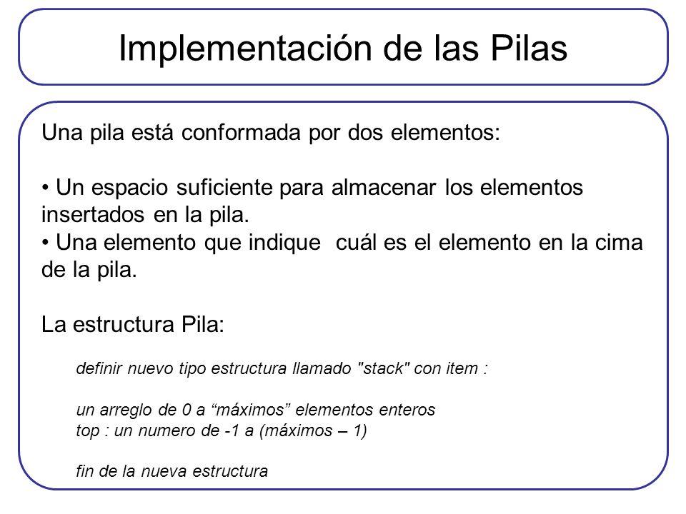Implementación de las Pilas Una pila está conformada por dos elementos: Un espacio suficiente para almacenar los elementos insertados en la pila. Una