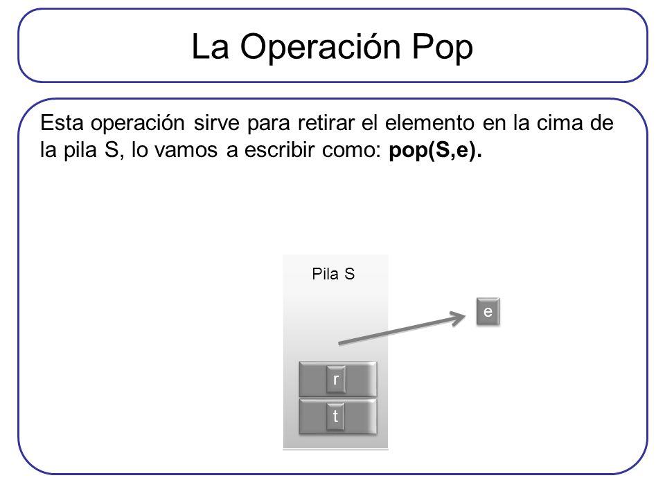 La Operación Pop Esta operación sirve para retirar el elemento en la cima de la pila S, lo vamos a escribir como: pop(S,e). t t r r e e Pila S