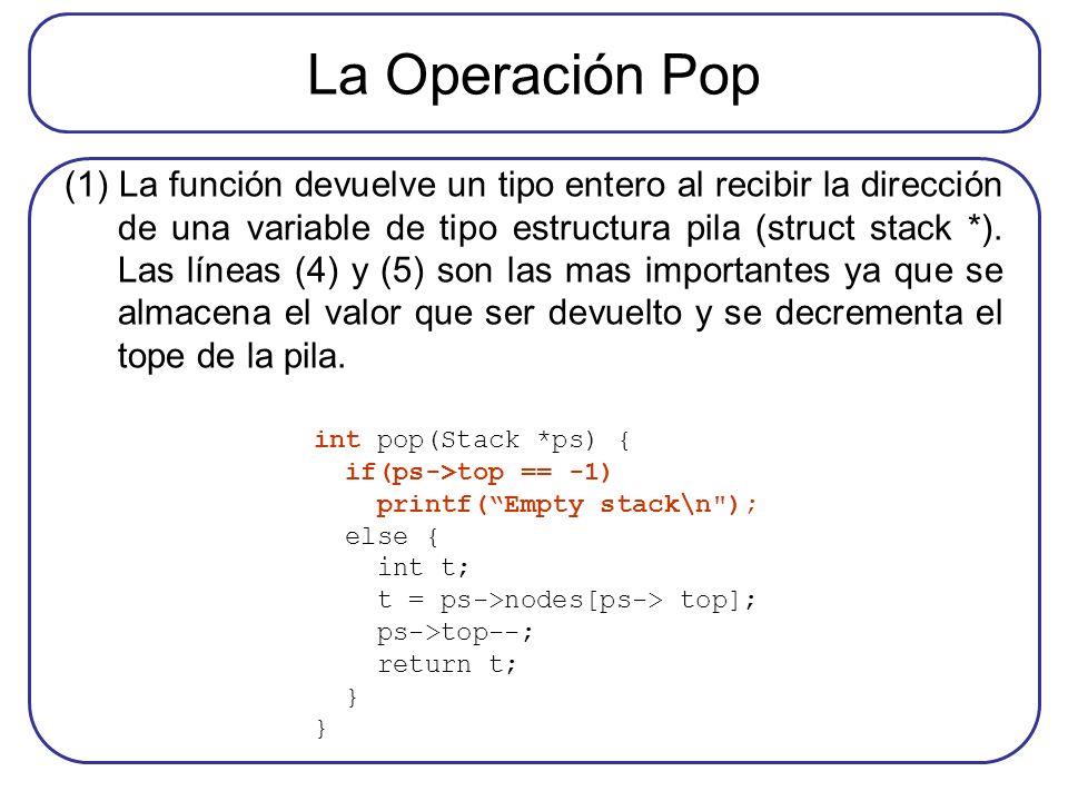 La Operación Pop (1) La función devuelve un tipo entero al recibir la dirección de una variable de tipo estructura pila (struct stack *). Las líneas (