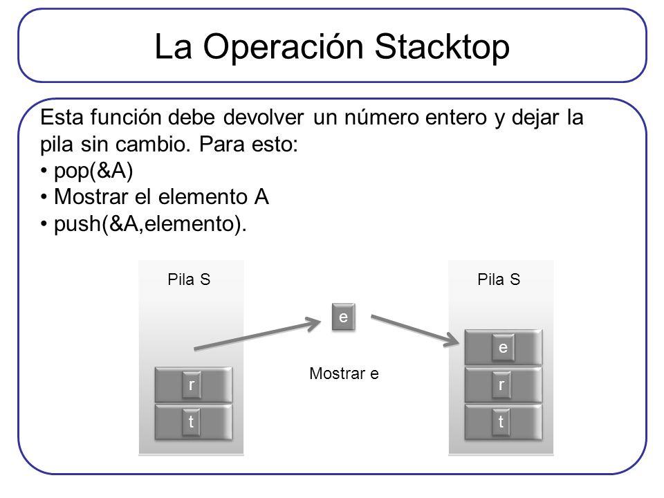 La Operación Stacktop Esta función debe devolver un número entero y dejar la pila sin cambio. Para esto: pop(&A) Mostrar el elemento A push(&A,element