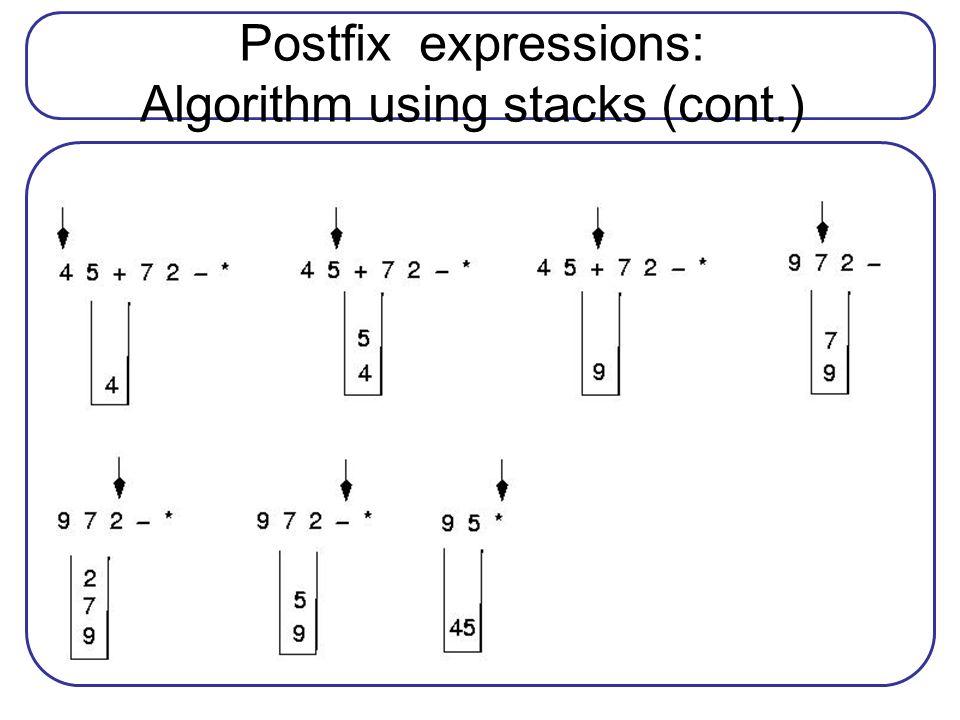 Postfix expressions: Algorithm using stacks (cont.)