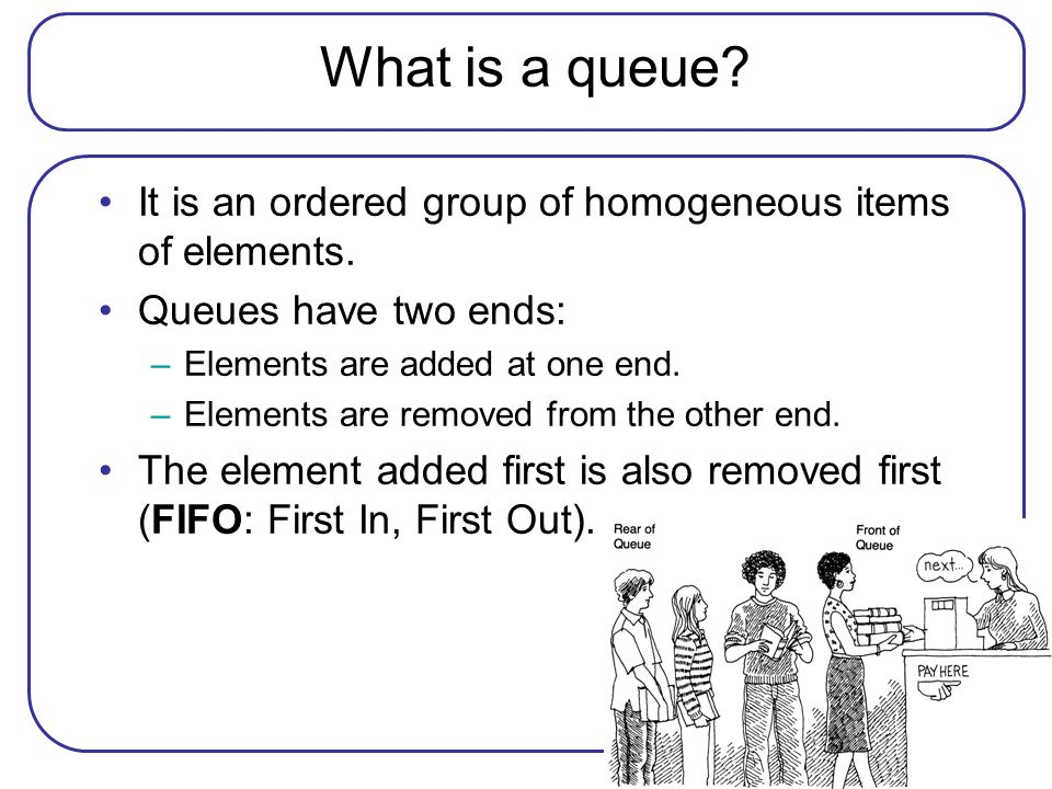 What is a queue? It is an ordered group of homogeneous items of elements. Queues have two ends: –Elements are added at one end. –Elements are removed