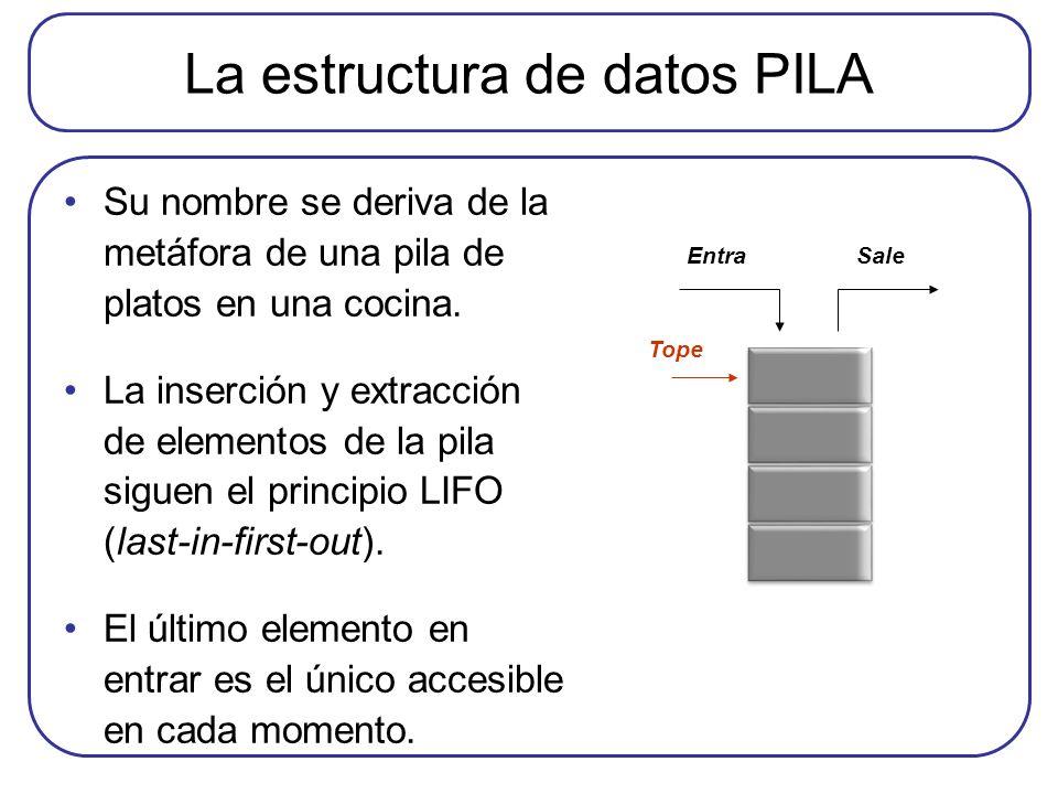 La estructura de datos PILA Su nombre se deriva de la metáfora de una pila de platos en una cocina. La inserción y extracción de elementos de la pila