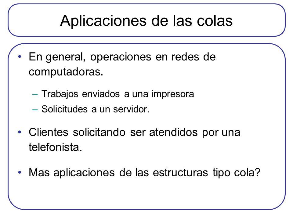 Aplicaciones de las colas En general, operaciones en redes de computadoras. –Trabajos enviados a una impresora –Solicitudes a un servidor. Clientes so