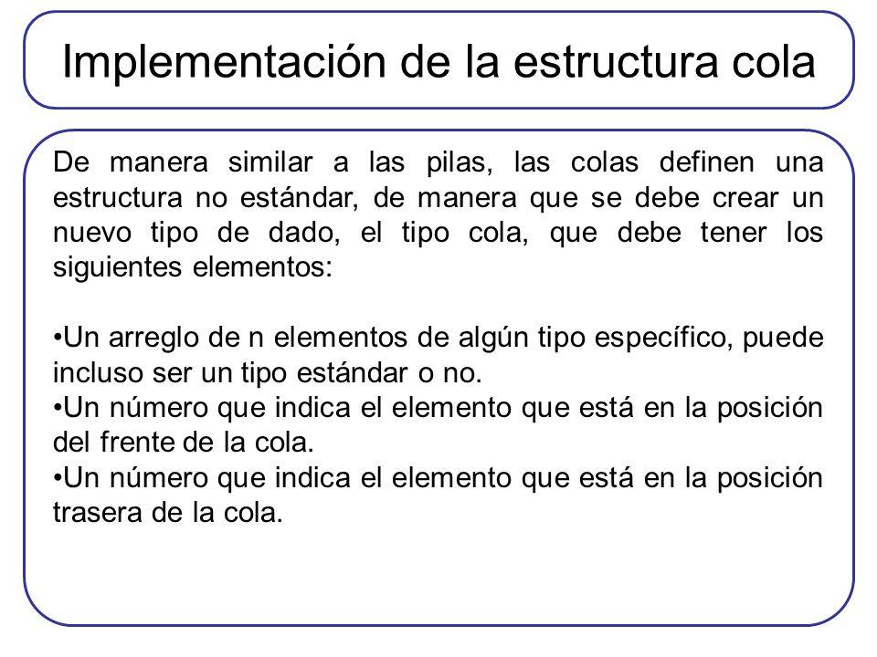 Implementación de la estructura cola De manera similar a las pilas, las colas definen una estructura no estándar, de manera que se debe crear un nuevo tipo de dado, el tipo cola, que debe tener los siguientes elementos: Un arreglo de n elementos de algún tipo específico, puede incluso ser un tipo estándar o no.