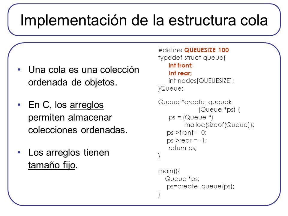 Implementación de la estructura cola Una cola es una colección ordenada de objetos. En C, los arreglos permiten almacenar colecciones ordenadas. Los a