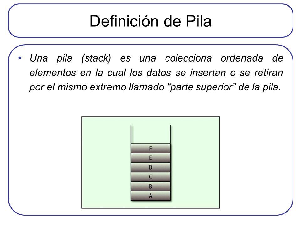 Definición de Pila Una pila (stack) es una colecciona ordenada de elementos en la cual los datos se insertan o se retiran por el mismo extremo llamado parte superior de la pila.