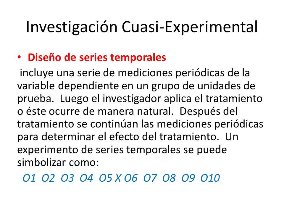 Investigación Cuasi-Experimental El investigador puede controlar cuando se toman las mediciones y en quién se toma, el investigador no tiene control sobre los programas de tratamiento y también es incapaz de exponer el tratamiento o las unidades que prueba en forma aleatoria.