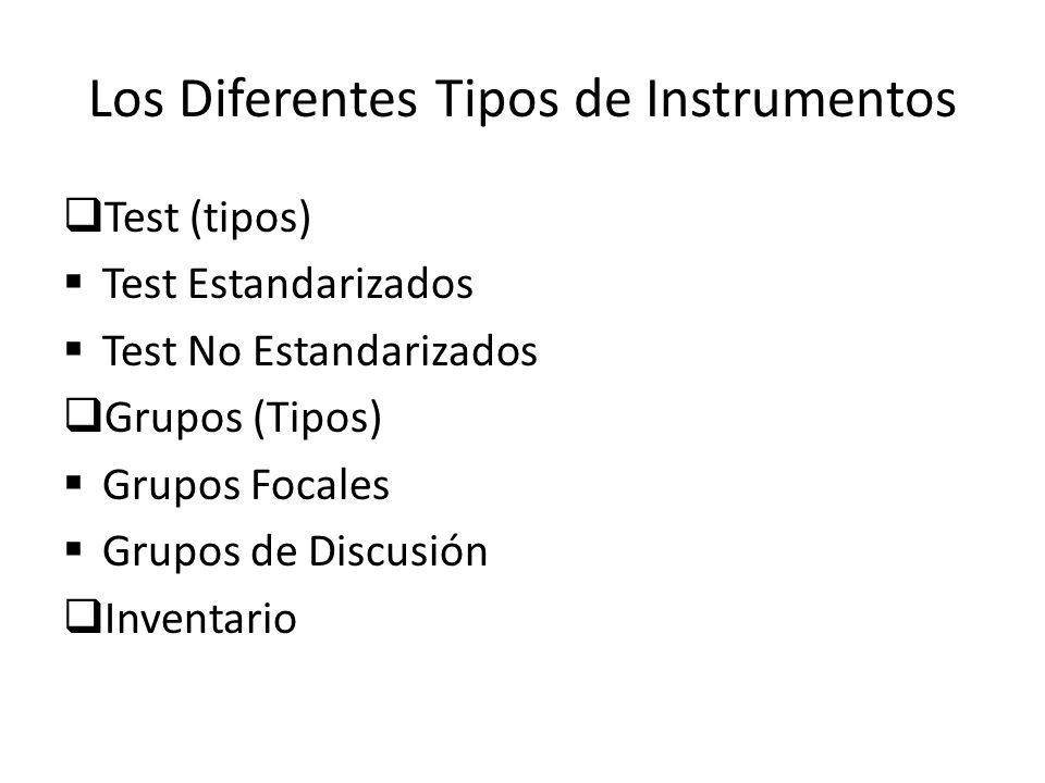 Los Diferentes Tipos de Instrumentos Existen infinidad de instrumentos para la recolección de datos, entre ellos tenemos: La Observación(se divide en) Observación Participante Observación No Participante La Encuesta La Entrevista Análisis de Contenido