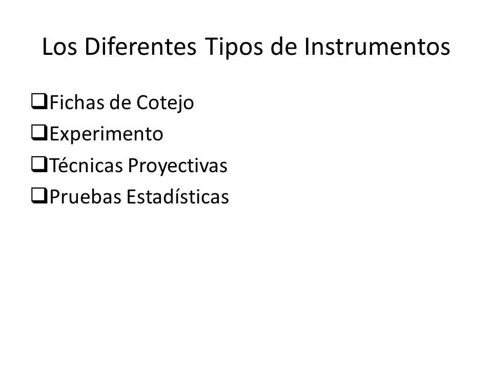 Los Diferentes Tipos de Instrumentos Test (tipos) Test Estandarizados Test No Estandarizados Grupos (Tipos) Grupos Focales Grupos de Discusión Inventario