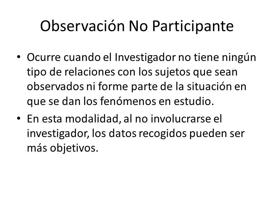 Observación Participante Implica que el investigador o el responsable de recolectar los datos o la información se involucre directamente con la actividad objeto de la investigación lo que puede varias desde la integración total del grupo o ser parte de este durante un periodo.