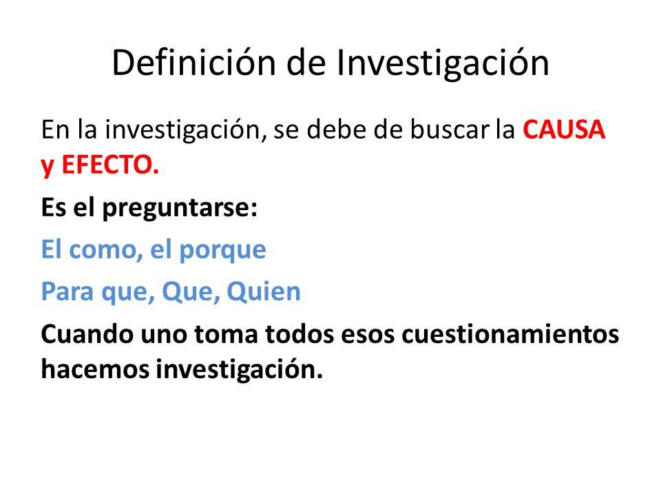 Definición de Investigación Es un proceso formal, ordenado y constante de llevar a cabo un método de análisis científico.