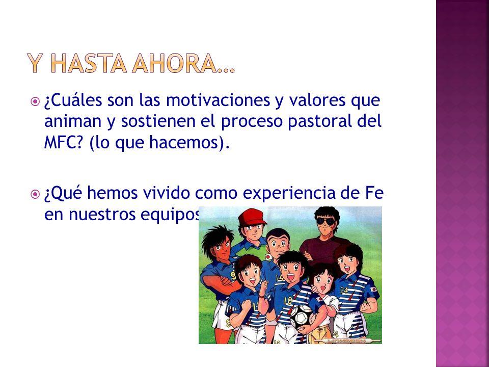 ¿Cuáles son las motivaciones y valores que animan y sostienen el proceso pastoral del MFC? (lo que hacemos). ¿Qué hemos vivido como experiencia de Fe