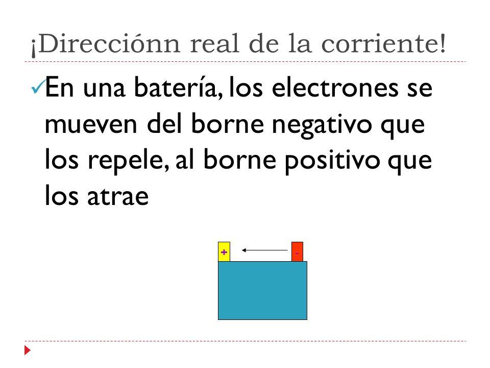 ¡Direcciónn real de la corriente! En una batería, los electrones se mueven del borne negativo que los repele, al borne positivo que los atrae +-