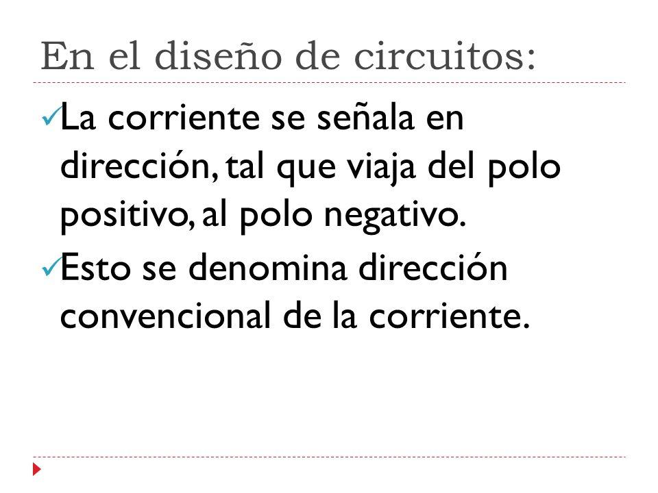 En el diseño de circuitos: La corriente se señala en dirección, tal que viaja del polo positivo, al polo negativo.