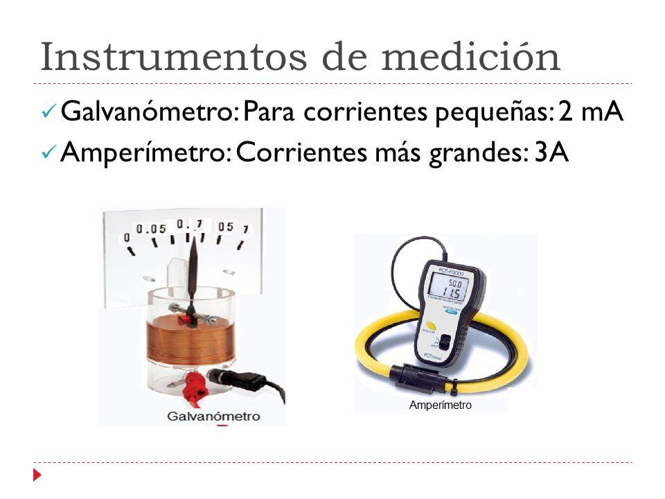 Instrumentos de medición Galvanómetro: Para corrientes pequeñas: 2 mA Amperímetro: Corrientes más grandes: 3A