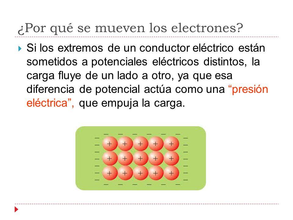 ¿Por qué se mueven los electrones? Si los extremos de un conductor eléctrico están sometidos a potenciales eléctricos distintos, la carga fluye de un