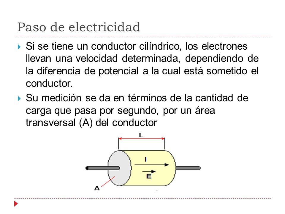 Paso de electricidad Si se tiene un conductor cilíndrico, los electrones llevan una velocidad determinada, dependiendo de la diferencia de potencial a la cual está sometido el conductor.