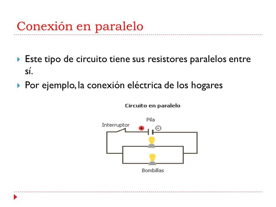 Conexión en paralelo Este tipo de circuito tiene sus resistores paralelos entre sí. Por ejemplo, la conexión eléctrica de los hogares