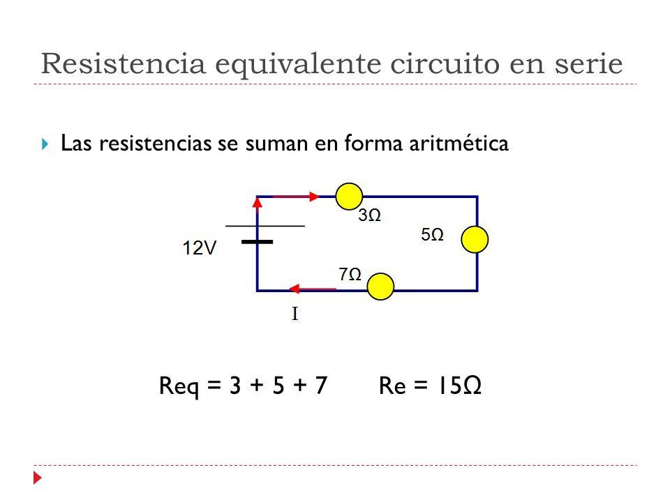Resistencia equivalente circuito en serie Las resistencias se suman en forma aritmética Req = 3 + 5 + 7 Re = 15 Ω