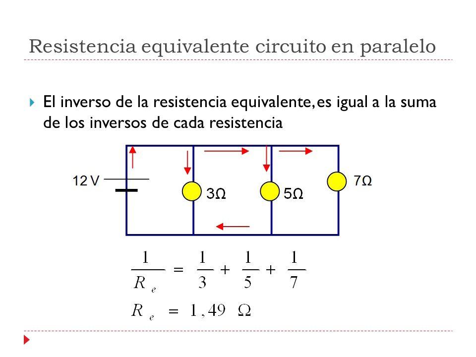 Resistencia equivalente circuito en paralelo El inverso de la resistencia equivalente, es igual a la suma de los inversos de cada resistencia