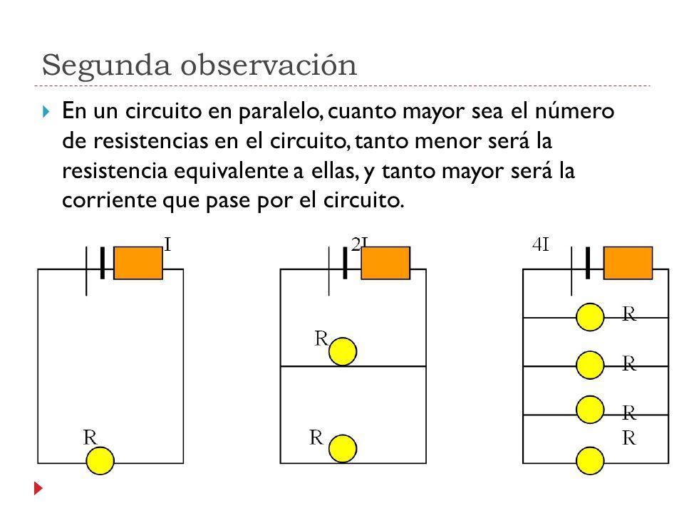 Segunda observación En un circuito en paralelo, cuanto mayor sea el número de resistencias en el circuito, tanto menor será la resistencia equivalente a ellas, y tanto mayor será la corriente que pase por el circuito.