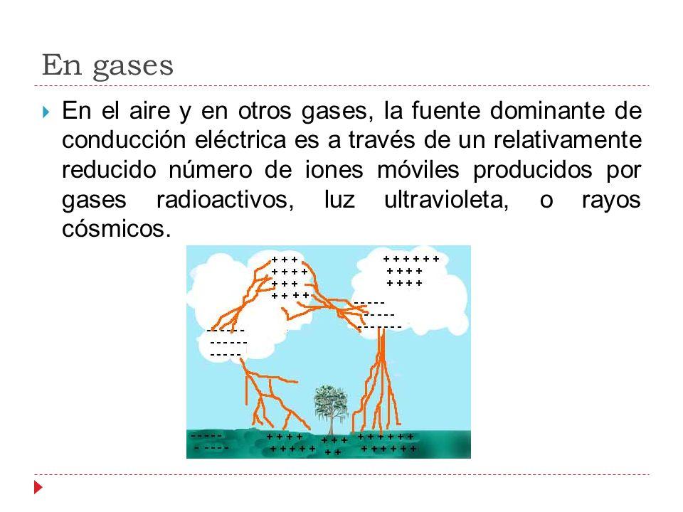 En gases En el aire y en otros gases, la fuente dominante de conducción eléctrica es a través de un relativamente reducido número de iones móviles producidos por gases radioactivos, luz ultravioleta, o rayos cósmicos.