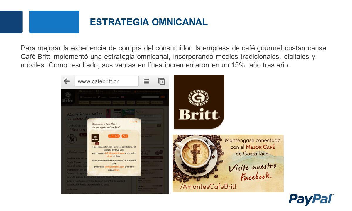 ESTRATEGIA OMNICANAL Para mejorar la experiencia de compra del consumidor, la empresa de café gourmet costarricense Café Britt implementó una estrategia omnicanal, incorporando medios tradicionales, digitales y móviles.