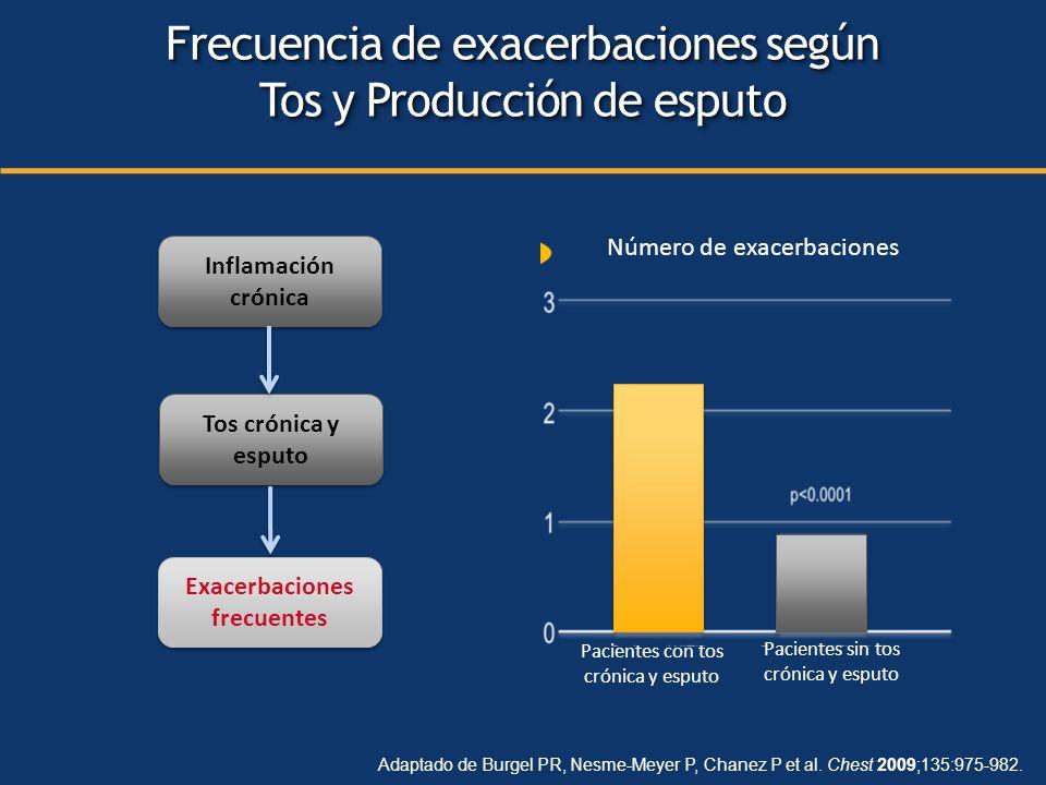 Número de exacerbaciones Pacientes con tos crónica y esputo Pacientes sin tos crónica y esputo Inflamación crónica Tos crónica y esputo Exacerbaciones