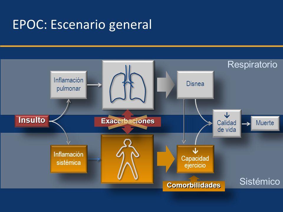 Respiratorio Sistémico InsultoInsulto Inflamación pulmonar Inflamación pulmonar ExacerbacionesExacerbaciones Inflamación sistémica Inflamación sistémi