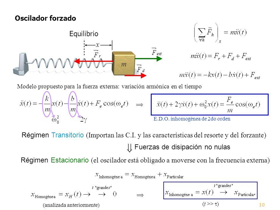 Oscilador forzado Equilibrio E.D.O. inhomogénea de 2do orden Modelo propuesto para la fuerza externa: variación armónica en el tiempo 10 Régimen Trans