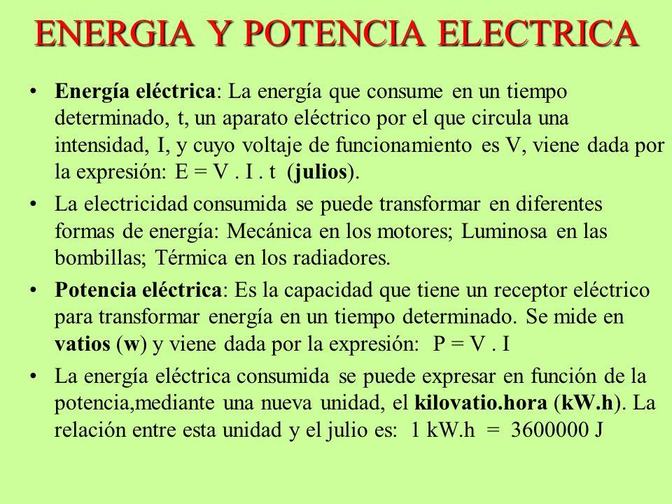 ENERGIA Y POTENCIA ELECTRICA Energía eléctrica: La energía que consume en un tiempo determinado, t, un aparato eléctrico por el que circula una intens
