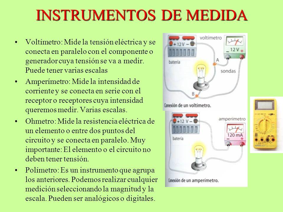 INSTRUMENTOS DE MEDIDA Voltímetro: Mide la tensión eléctrica y se conecta en paralelo con el componente o generador cuya tensión se va a medir. Puede