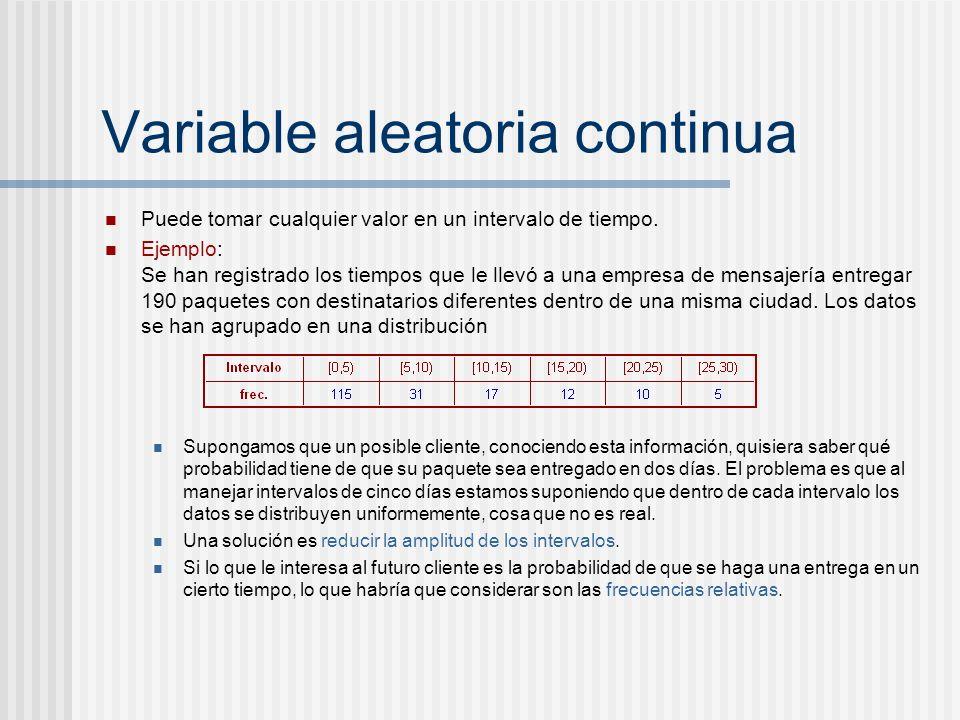 Variable aleatoria continua Puede tomar cualquier valor en un intervalo de tiempo. Ejemplo: Se han registrado los tiempos que le llevó a una empresa d