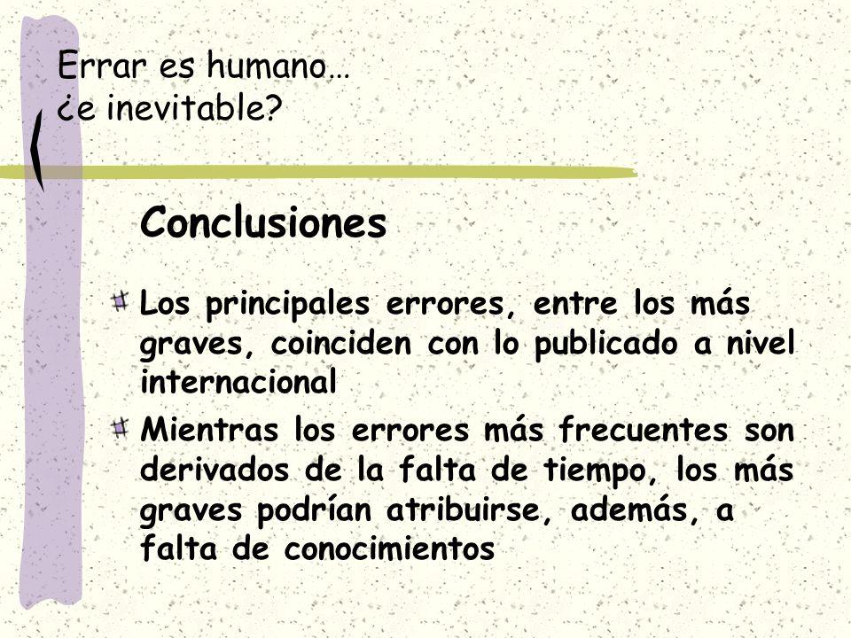 Errar es humano… ¿e inevitable? Conclusiones Los principales errores, entre los más graves, coinciden con lo publicado a nivel internacional Mientras