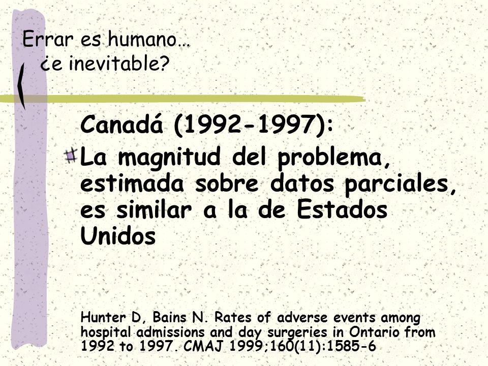 Errar es humano… ¿e inevitable? Canadá (1992-1997): La magnitud del problema, estimada sobre datos parciales, es similar a la de Estados Unidos Hunter