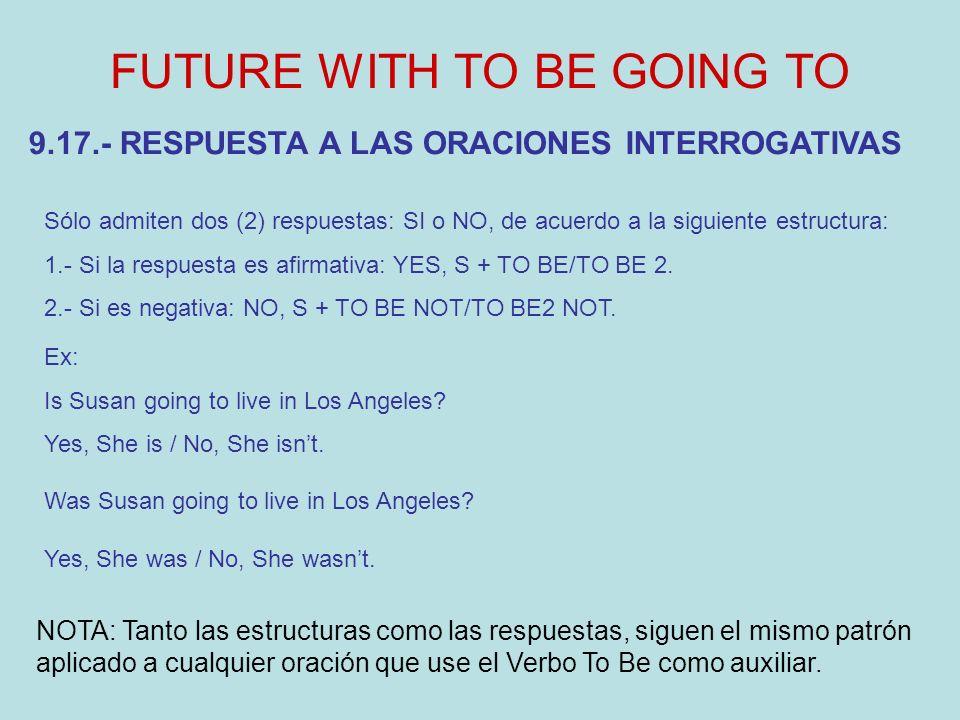 FUTURE WITH TO BE GOING TO Sólo admiten dos (2) respuestas: SI o NO, de acuerdo a la siguiente estructura: 1.- Si la respuesta es afirmativa: YES, S + TO BE/TO BE 2.