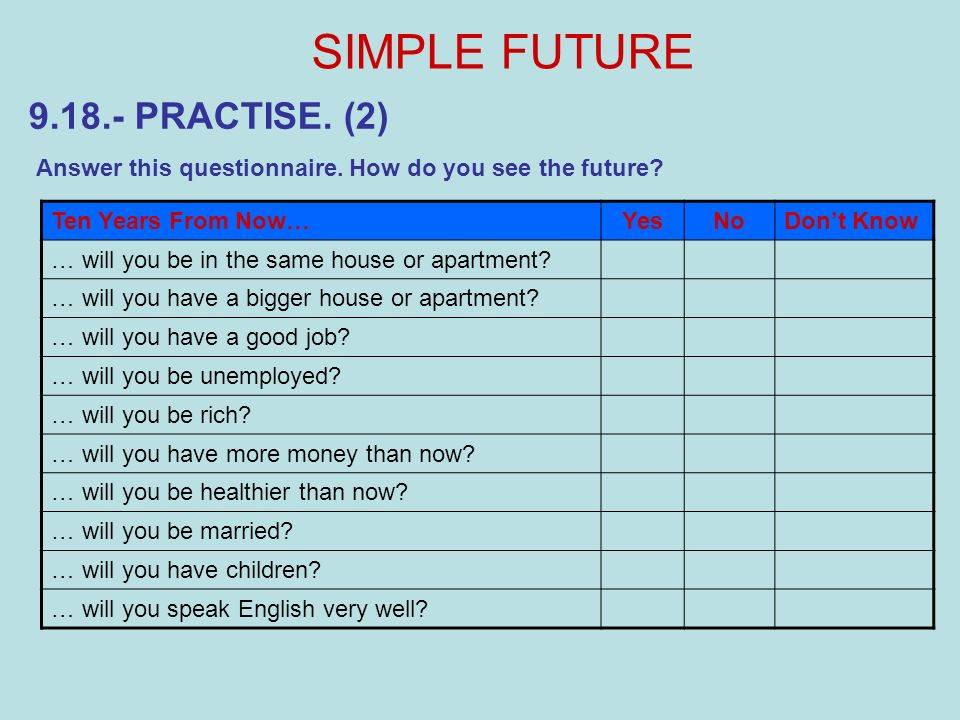 9.18.- PRACTISE. (2) SIMPLE FUTURE Answer this questionnaire. How do you see the future? Ten Years From Now…YesNoDont Know … will you be in the same h