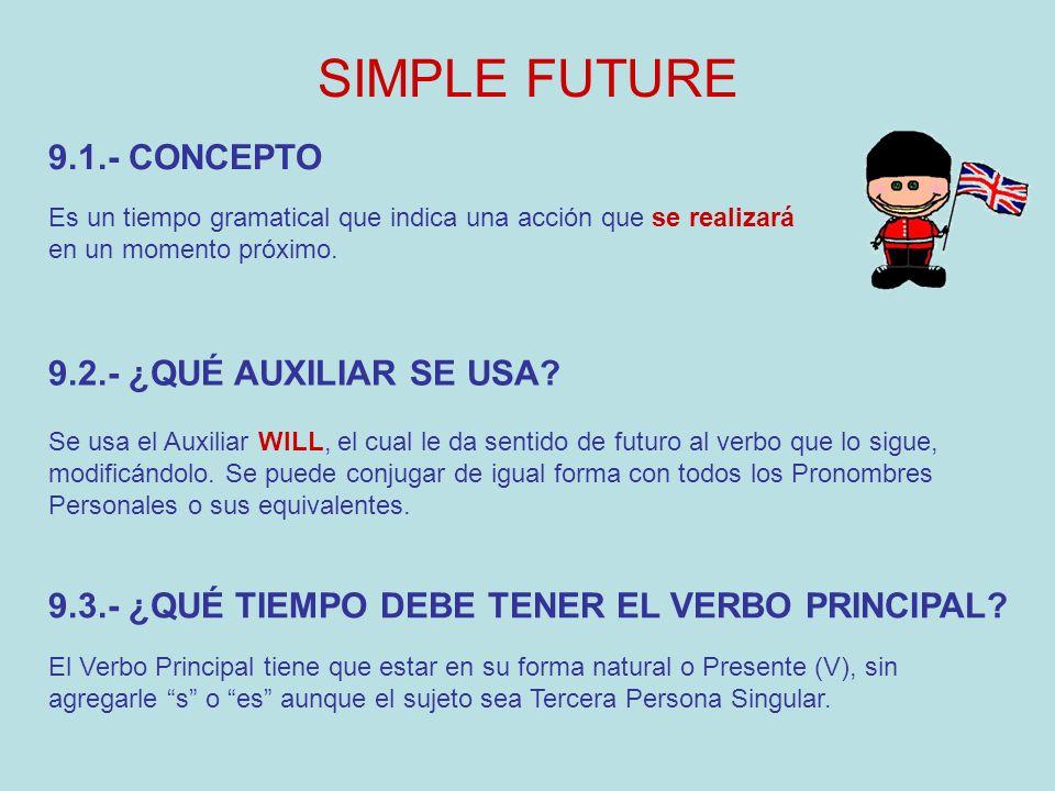 SIMPLE FUTURE Es un tiempo gramatical que indica una acción que se realizará en un momento próximo.