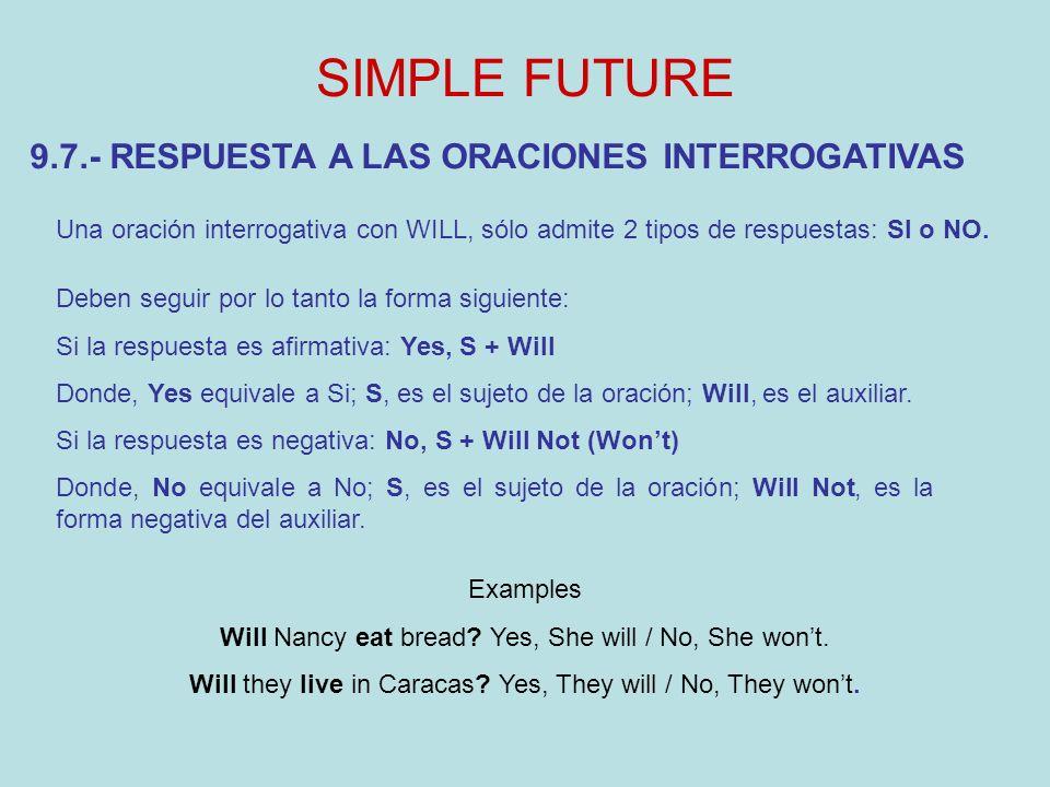SIMPLE FUTURE 9.7.- RESPUESTA A LAS ORACIONES INTERROGATIVAS Una oración interrogativa con WILL, sólo admite 2 tipos de respuestas: SI o NO.