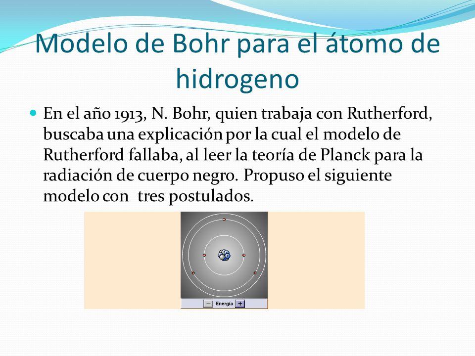 Modelo de Bohr para el átomo de hidrogeno En el año 1913, N. Bohr, quien trabaja con Rutherford, buscaba una explicación por la cual el modelo de Ruth