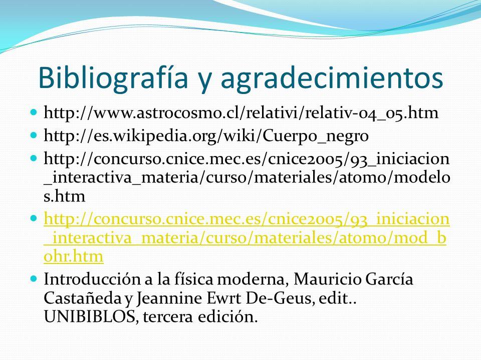 Bibliografía y agradecimientos http://www.astrocosmo.cl/relativi/relativ-04_05.htm http://es.wikipedia.org/wiki/Cuerpo_negro http://concurso.cnice.mec