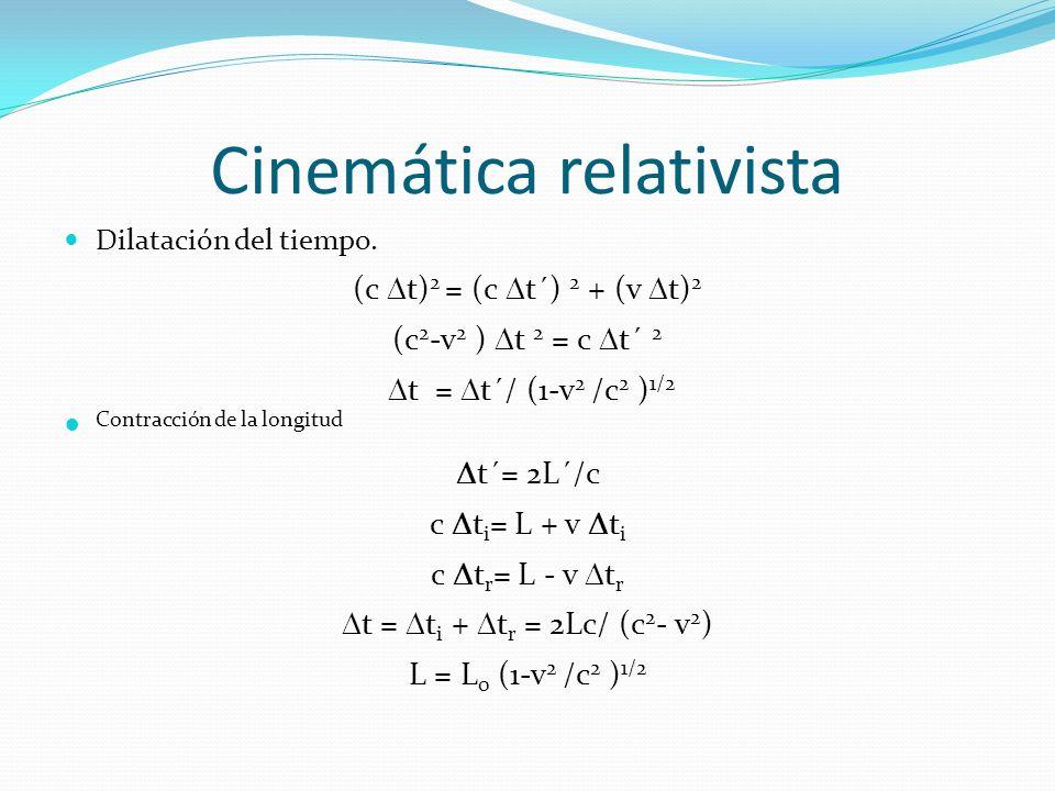 Cinemática relativista Dilatación del tiempo. (c t) 2 = (c t´) 2 + (v t) 2 (c 2 -v 2 ) t 2 = c t´ 2 t = t´/ (1-v 2 /c 2 ) 1/2 Contracción de la longit