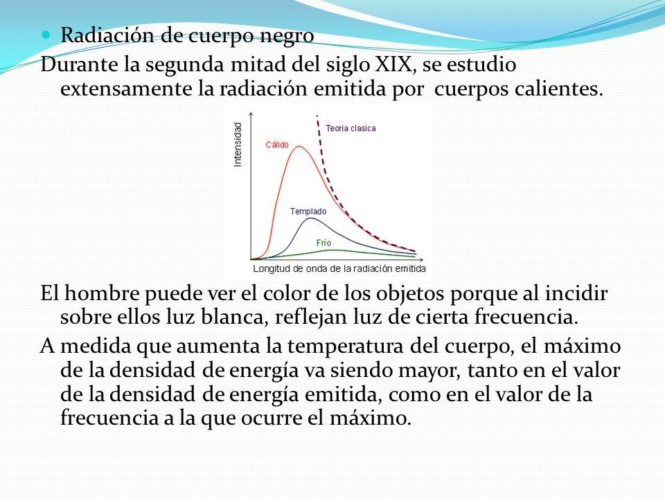 Ley de Stefan-Boltzmann A partir de las curvas experimentales del espectro de radiación del cuerpo negro en 1878, establecieron la siguiente formula para calcular teóricamente la energía total radiada por un cuerpo negro, que se encuentra a la temperatura absoluta T, por unidad de área y tiempo: R = (E/(A*t)) = σ T 4 Donde σ es la constante de Stefan-Boltzmann y su valor es igual a 5.67 x 10 -8 Wtt/(m2K4)