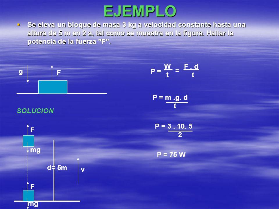 EJEMPLO Se eleva un bloque de masa 3 kg a velocidad constante hasta una altura de 5 m en 2 s, tal como se muestra en la figura. Hallar la potencia de