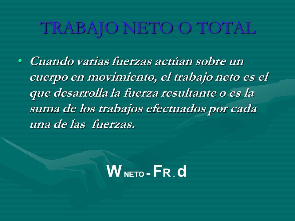 TRABAJO NETO O TOTAL Cuando varias fuerzas actúan sobre un cuerpo en movimiento, el trabajo neto es el que desarrolla la fuerza resultante o es la sum